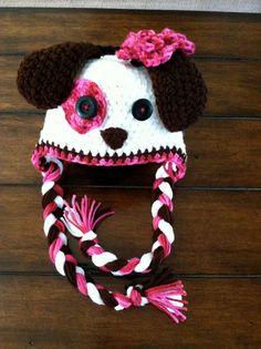 Girl crochet puppy hat by 5brags on Etsy, $18.00