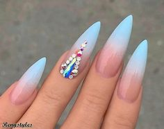 29 Latest Luminous Nail Art Designs That – Blue Ombre Nails, Light Blue Nails, Light Colored Nails, Long Stiletto Nails, Toe Nails, Nail Swag, Luminous Nails, Nail Jewels, Modern Nails