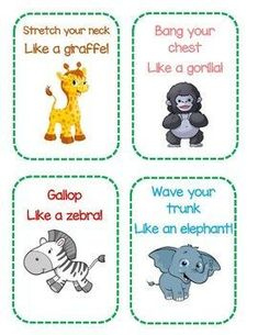 Zoo Themed Gross Motor Cards Early Childhood Education Preschool Toddler Lesson Plan Activity Game S Preschool Zoo Theme, Preschool Activities, Jungle Theme Activities, Zoo Animal Activities, Free Preschool, Toddler Classroom, Preschool Classroom, Toddler Themes, Toddler Activities
