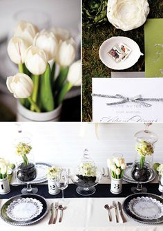 green cream and black wedding styling