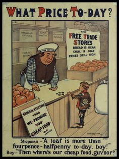 What price to-day? the free trade stores bread is dear coal is dear prices still high :: Cartells (Biblioteca de Catalunya) Vintage Books, Be Still, Ephemera, Bread, Baseball Cards, Store, Boys, Art, Baby Boys