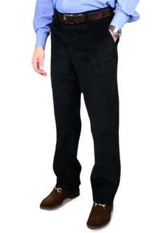 BERLE Black 8 Wale Luxury Cord Trousers