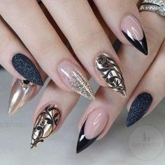 Beautiful nail art designs that are just too cute to resist. It's time to try out something new with your nail art. Fancy Nails, Trendy Nails, Cute Nails, My Nails, Classy Nails, Prom Nails, Nail Art Designs, Colorful Nail Designs, Nails Design