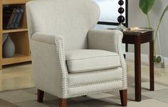 Erika Accent Chair | No-sag spring, loose seat, solid wood/plywood frame covered in 100% linen fabric. #mhf #accentchair
