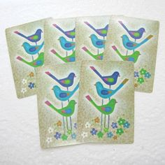 Trio of Flower Power Birds Set of 6 by EccentricitySupplyCo, $2.95