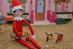 #HealthyElf is considering his physical activity choices. What should he do first? Elf on the Shelf Ideas: catch your elf being healthy and tag with #HealthyElf.