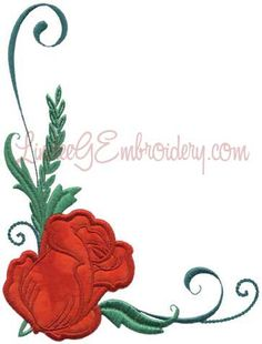 Rose 1 from Elegant Roses Applique.   #machineembroidery #applique #rose #floral