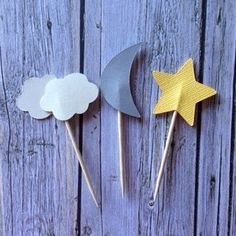 Cloud Moon and Star Cupcake Toppers by CircleCityCreations on Etsy