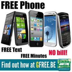 FREE Smartphone & FREE Minutes, Text & Data - NO Contract & NO Bill! - http://gimmiefreebies.com/free-smartphone-minutes/