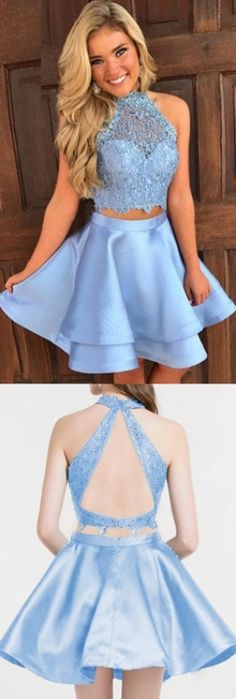 Short Homecoming Dresses, A line Homecoming Dresses, Blue Homecoming Dresses, Sleeveless Homecoming Dresses, Two Piece Dresses, A Line dresses, Short Homecoming Dresses, Short Blue Dresses, Homecoming Dresses Short, Blue Short Dresses