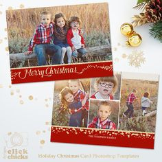 Holiday Christmas Card Template for Photographers by ClickChicksDesigns on Etsy
