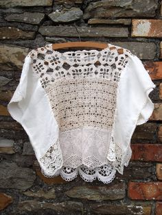 One off Hand made Vintage antique 30s 70s CROCHET lace angel sleeve cut out kaftan shirt tank slouch top white M. $53.00, via Etsy.