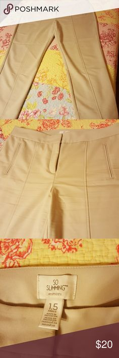 Ankle Length Pants Light tan colored work pants, or anything pants! Very slimming mix of cotton, polyester and a touch of spandex. EUC. Though sold as ankle pants depending on how tall you are they are a perfect regular length. Chico's Pants