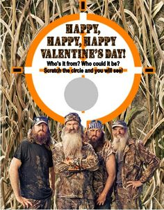 Personalized Duck Dynasty Camo Hunting Valentines Day Cards Scratch Off Style by DannisCuteCreations. Scratch to reveal your child's picture photo or name. A unique fun way to hand out Valentine's Day Cards to classmates, teachers and friends.
