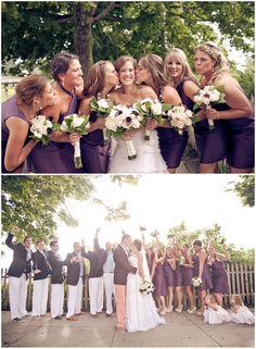 purple dresses   peaks island, maine wedding  by : Emily Delamater Photography