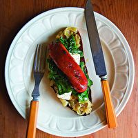 Halloumi with Seared Red Peppers, Olives, and Capers by Deborah Madison