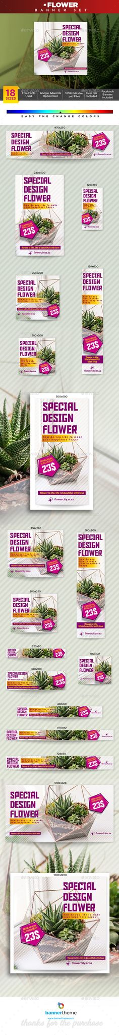 Wonderful banner designs for 18 different sizes ready for all your products, services, campaigns and promotions. search tag: #Flower #Banner - Banners & #Ads #Web #Elements