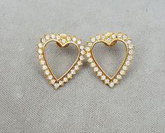 Vintage Monet pierced earrings rhinestone open hearts gold-tone #Monet #Pierced