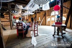 Vintage circus wedding theme, night circus, Barn Wedding, Rustic Wedding, fun with parasols, Bride and Groom, Photo by BG Productions.