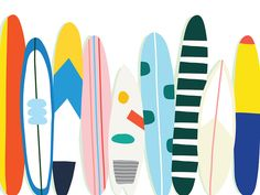 Surf Stack by Kellen Hatanaka Surfboard Drawing, Surf Drawing, Surfboard Painting, Surfboard Art, Surfing Painting, Mouse Illustration, Beach Illustration, Posca Art, Surf Art