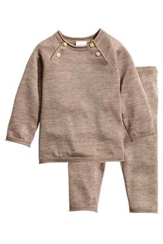 Fine-knit set in a silk blend - Mole - Kids | H&M GB 1