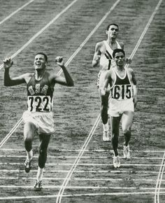 Billy Mills, of Native American tribe Oglala Lakota, Crossing the Finish Line and Winning the Gold in 10,000 meteres, 1964 Olympics, Tokyo