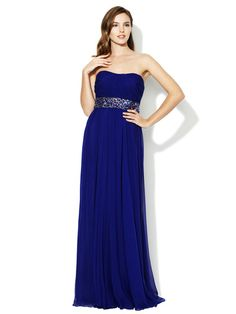 We can thank Bella for bringing this color back in style. Strapless Silk Chiffon Jeweled Waist Gown by Notte By Marchesa
