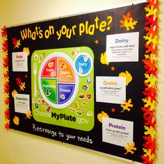 What's on your plate? Bulletin board #educational #bb #ra #ralife #bulletinboard #residentassistant #ecsu #eastern #ct #healthy eating #plate #choose #meals #eatright #inshape #fall #leaves #autumn