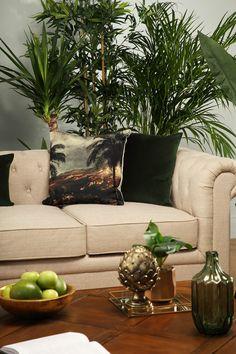 Into The Tropics 2018 Interior Trends, Decor Interior Design, Interior Decorating, Tropical Decor, Leather Sofa, Living Room Furniture, Dining Chairs, Pillows