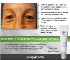 Bags under your eyes? We got you covered! You work hard to look young, but no matter what you do, your eyes will show the telltale signs of aging, stress, and fatigue. Fight these aging signs with Tru Face Ideal Eyes. What are you waiting for?