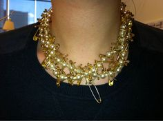 NET-A-PORTER staffer's Tom Binns pearl and safety pin necklace