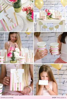 New gold & pink dot & stripe plates, cups, napkins, treat bags, thank you tags & glitter garlands. By Illume Partyware