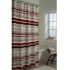 @Overstock - This fun, bold, contemporary shower curtain showcases a stripe design in shades of chocolate brown, red and ivory. This fabric shower curtain is sure to brighten up any bathroom.http://www.overstock.com/Bedding-Bath/Meridian-Stripe-Shower-Curtain/5093216/product.html?CID=214117 $27.49