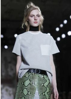 Proenza Schouler Insane perforated white leather over sized t-shirt look