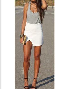 Street style, summer style ,white skirt