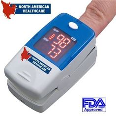 North American Healthcare Fingertip Pulse Oximeter Heart FDA Approved with Case