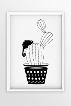 For cactus lovers, black and white chameleon illustration, monochrome printable gift, digital download