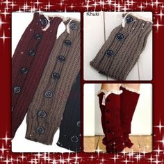 Khaki Button with Lace Detail Boot Socks Khacki Button detailed Lace Boot Footless sock. This listing is gorgeous the Khacki pair. Sold out of the cranberry ones in this style. Accessories Hosiery & Socks