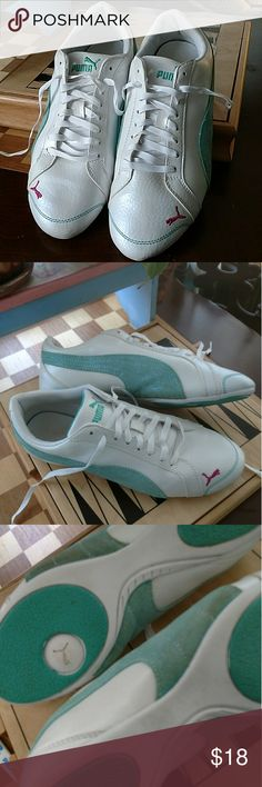 PUMA yoga shoes...ladies sz. 8.5 Pre owned / worn indoors only. PUMA Yoga shoes..pearlescent white leather upper with sparkly teal puma swoosh and trademark cat...size 8.5  ... The condition: shows some minor wear see pictures. No major scuffing, creasing or sole wear. Puma Shoes Athletic Shoes