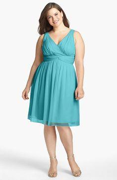 Donna Morgan  Jessie  Twist Waist Chiffon Fit   Flare Dress (Plus Size) 8646b7645ca