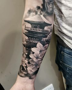 Japanese Tattoos 19827 16 Coolest Forearm Tattoos For Men Japanese Forearm Tattoo, Japanese Temple Tattoo, Cool Forearm Tattoos, Japanese Tattoo Art, Japanese Tattoo Designs, Japanese Sleeve Tattoos, Full Sleeve Tattoos, Body Art Tattoos, Samurai Tattoo Sleeve