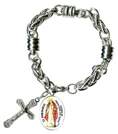 St Philomena for Protecting The Youth Charm and Cross Stainless Steel 7' to 8' Bracelet -- You can get additional details at the image link.-It is an affiliate link to Amazon. #Bracelet