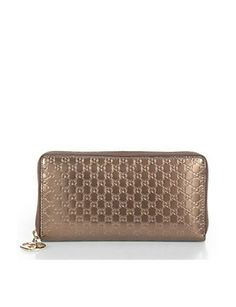 GUCCI Lovely Shiny Microguccissima Leather Zip-Around Wallet