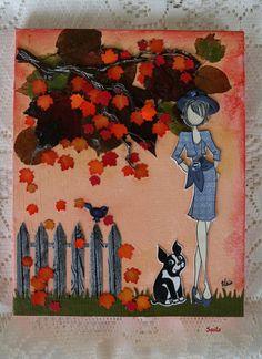 Hélène (Suila) création! Aux couleurs de l'Automne! Nathalie-paper doll étampe, sur projet 8 X 10 toile canevas,