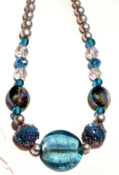Big & Bold Aqua Teal and silver beaded necklace