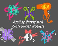 Initial Monogrammed Personalized Beautician Cosmetology Hairstylist Vinyl Decal
