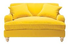 Yellow velvet sofa - love this. but not velvet