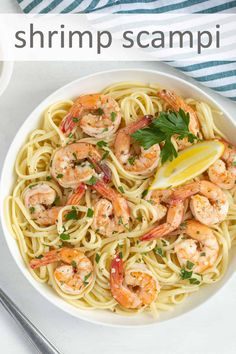 This shrimp scampi recipe is an easy and satisfying dinner in under 30 minutes! Shrimp in a lemony garlic butter sauce with white wine over pasta is a delicious dinner any night of the week. Scampi Sauce, Shrimp Scampi Pasta, Scampi Recipe, Seafood Pasta, Shrimp Recipes For Dinner, Shrimp Recipes Easy, Seafood Recipes, Healthy Recipes, Pasta Recipies