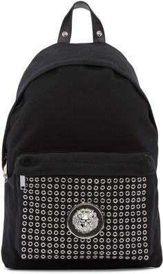 VERSUS Black Eyelet Backpack. #versus #bags #leather #canvas #backpacks #