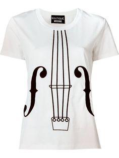 BOUTIQUE MOSCHINO Embroidered Violin T-Shirt. #boutiquemoschino #cloth #t-shirt
